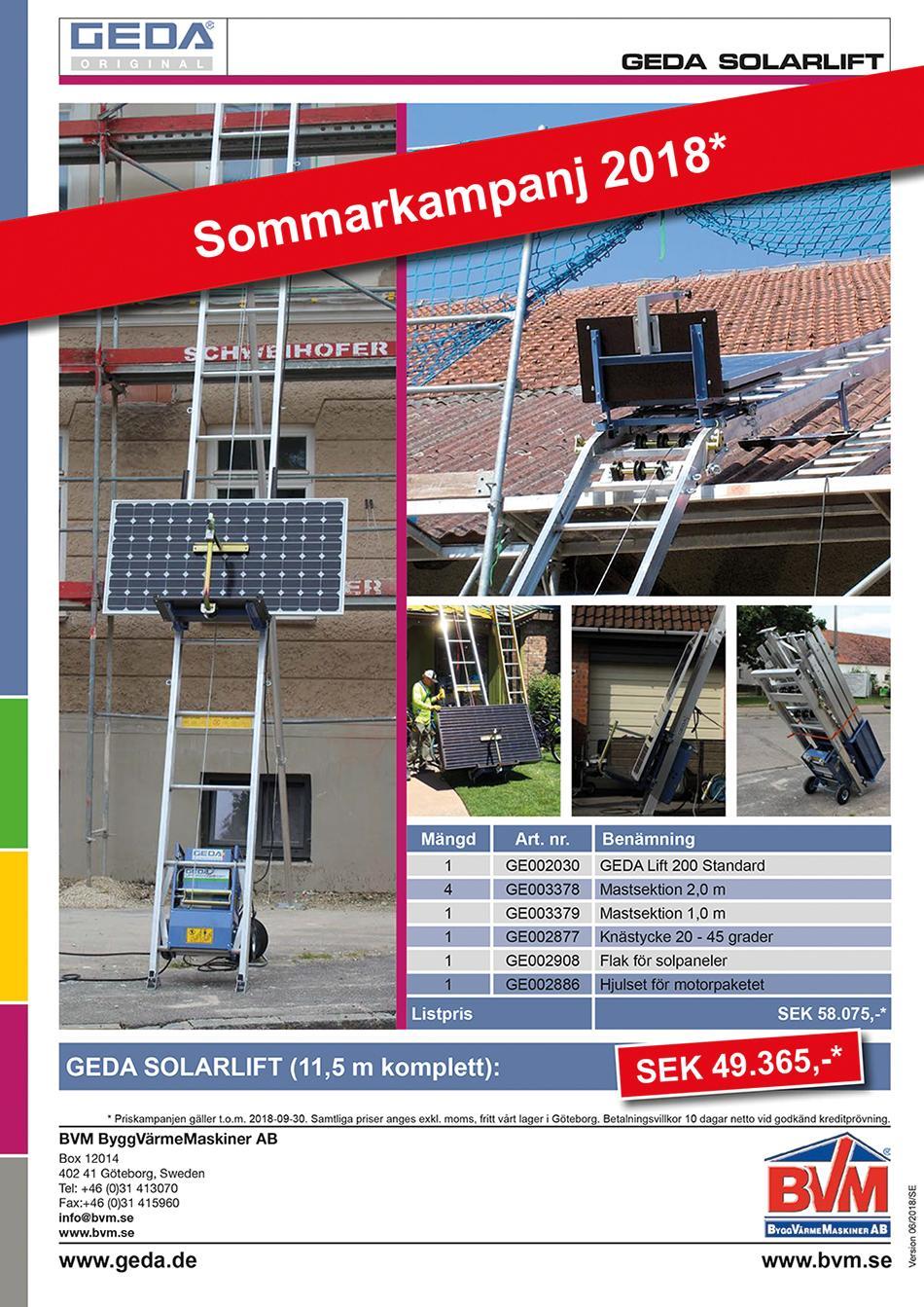 Sommarkampanj 2018 GEDA Solarlift
